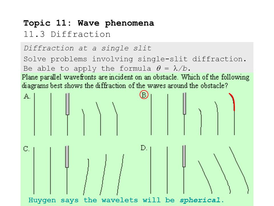 Topic 11: Wave phenomena 11.3 Diffraction Diffraction at a single slit Solve problems involving single-slit diffraction.