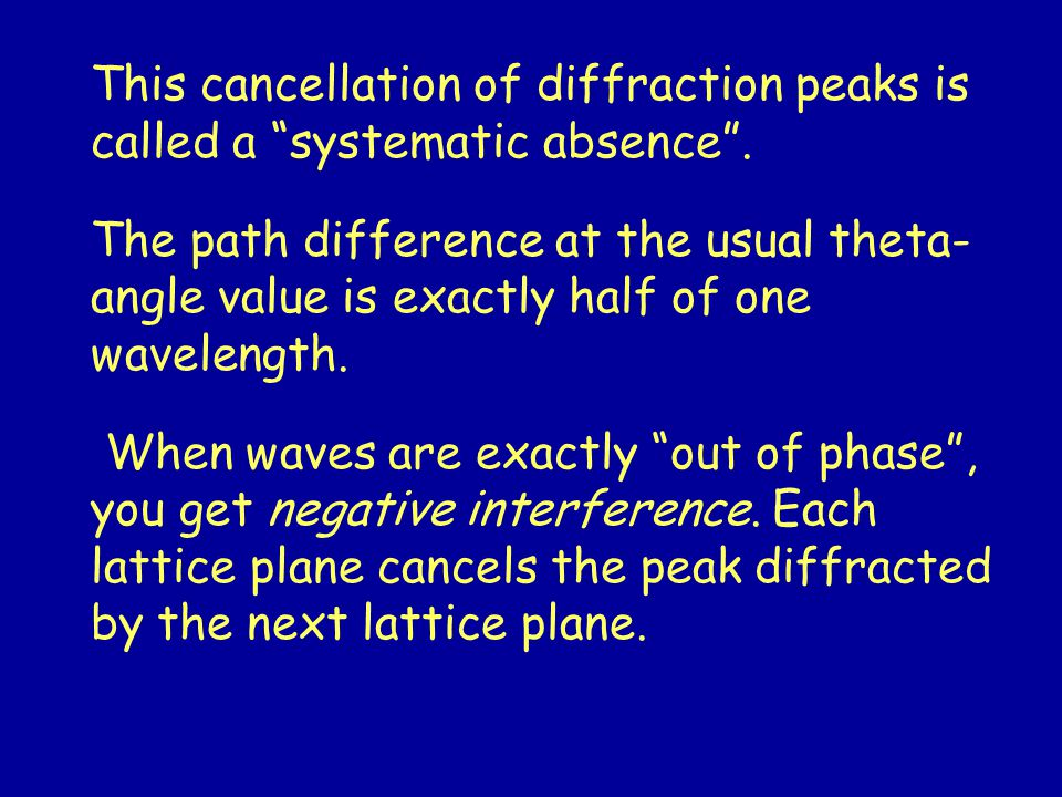 This cancellation of diffraction peaks is called a systematic absence .
