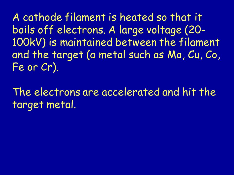 A cathode filament is heated so that it boils off electrons.