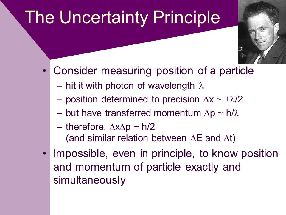 The Uncertainty Principle Consider measuring position of a particle –hit it with photon of wavelength –position determined to precision  x ~ ± /2 –but have transferred momentum  p ~ h/ –therefore,  x  p ~ h/2 (and similar relation between  E and  t) Impossible, even in principle, to know position and momentum of particle exactly and simultaneously
