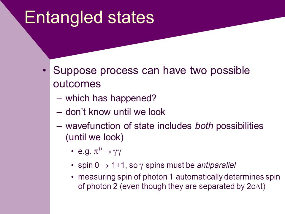 Entangled states Suppose process can have two possible outcomes –which has happened.