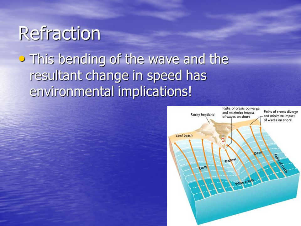 Refraction This bending of the wave and the resultant change in speed has environmental implications! This bending of the wave and the resultant chang