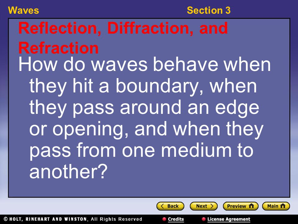 WavesSection 3 15-3-1 Reflection, Diffraction, and Refraction, continued reflection: the bouncing back of a ray of light, sound, or heat when the ray hits a surface that it does not go through