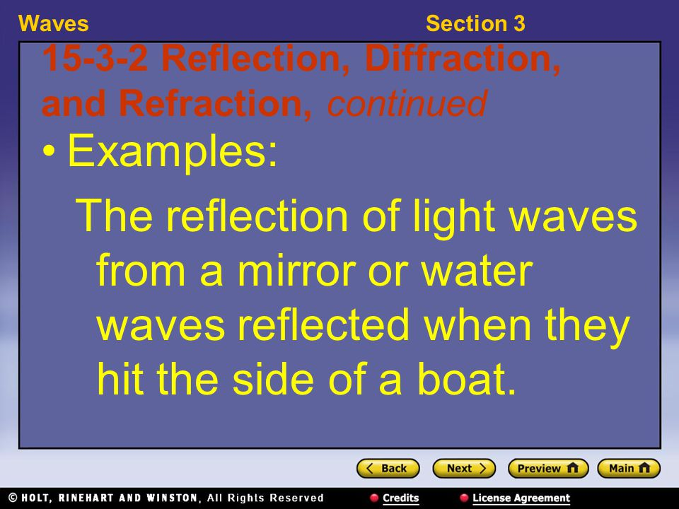 WavesSection 3 15-3-3 Reflection, Diffraction, and Refraction, continued diffraction: a change in the direction of a wave when the wave finds an obstacle or an edge, such as an opening