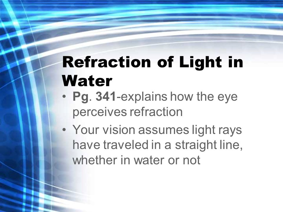 Refraction of Light in Water Pg.