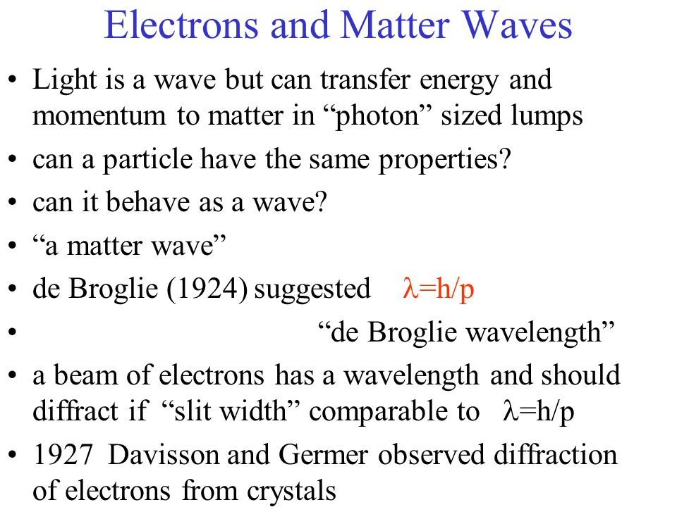 Electrons and Matter Waves Light is a wave but can transfer energy and momentum to matter in photon sized lumps can a particle have the same properties.