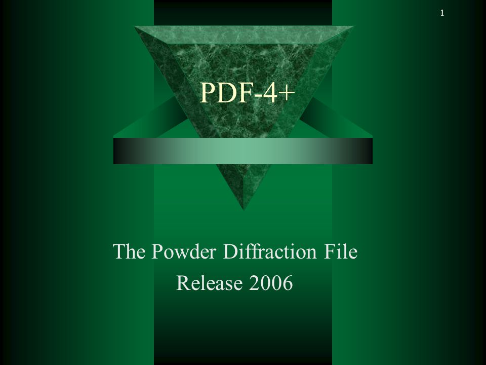 PDF-4+ 62 Application Example 1 Pattern simulation of complex mixtures using PDF-4+, DDView+ 6 Phase solution used data from 3 different databases ICDD-powder, ICSD – single crystal, LPF- single crystal Data input console, goes to pattern options Raw Data