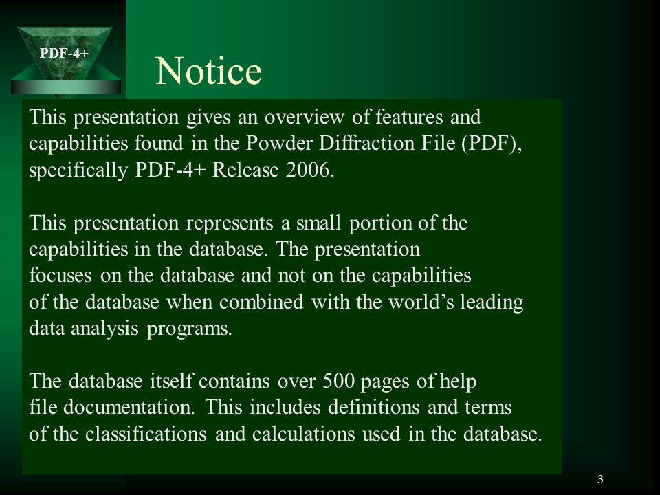 PDF-4+ 14 Cambridge Structural Database (CSD) Linus Pauling File (LPF) Powder Diffraction File – Database Collaborators NIST ICSD