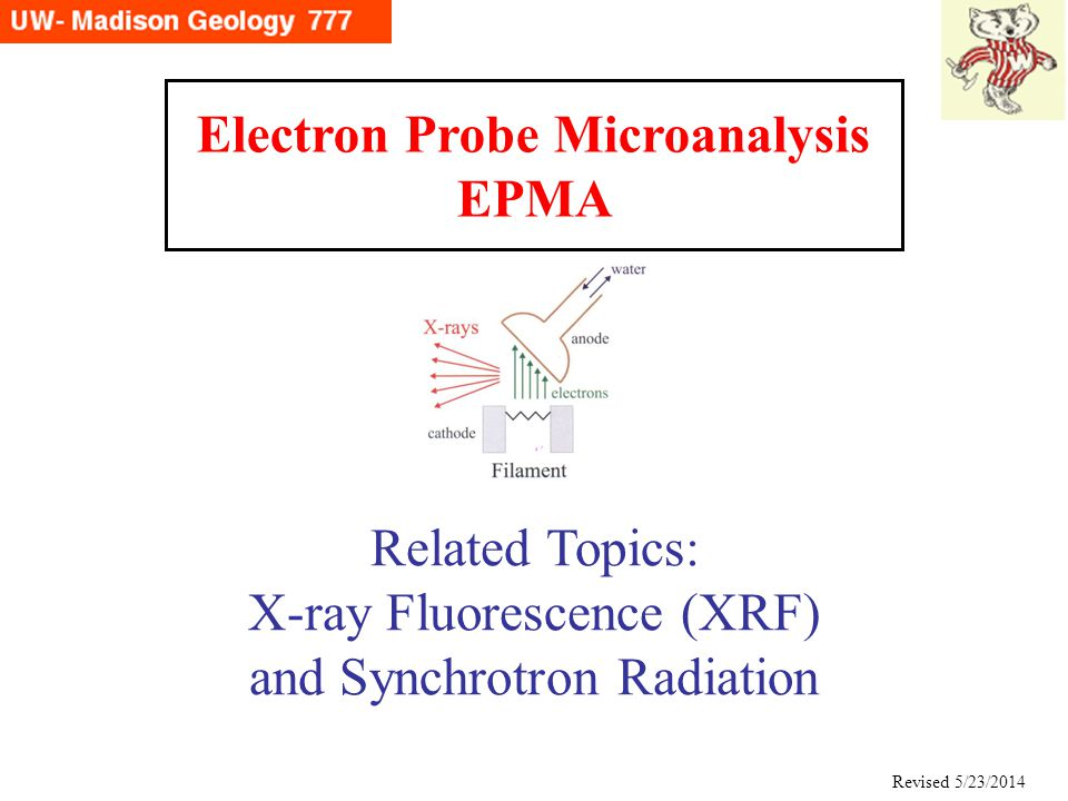 Electron Probe Microanalysis EPMA Related Topics: X-ray Fluorescence (XRF) and Synchrotron Radiation Revised 5/23/2014