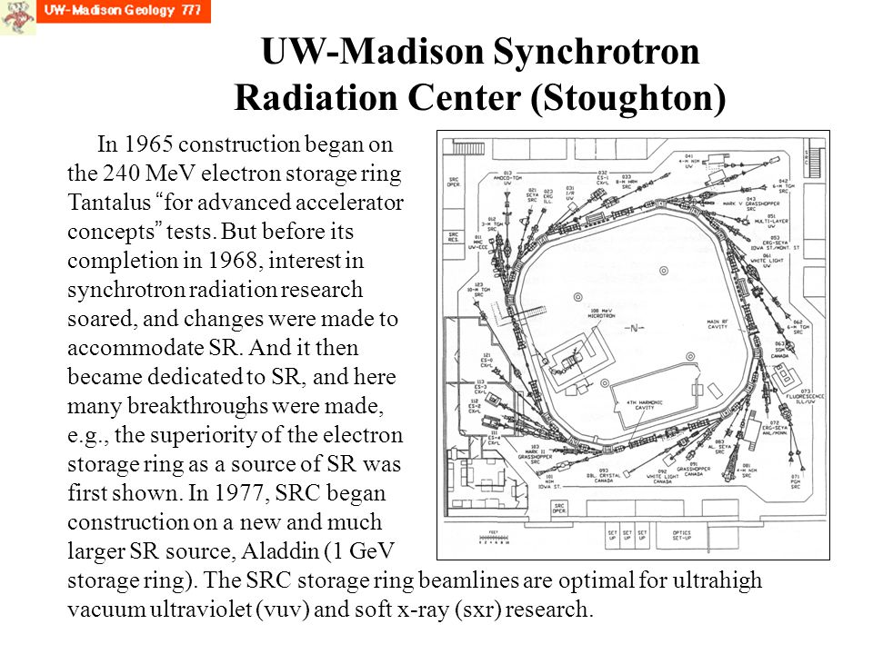 UW-Madison Synchrotron Radiation Center (Stoughton) In 1965 construction began on the 240 MeV electron storage ring Tantalus for advanced accelerator concepts tests.
