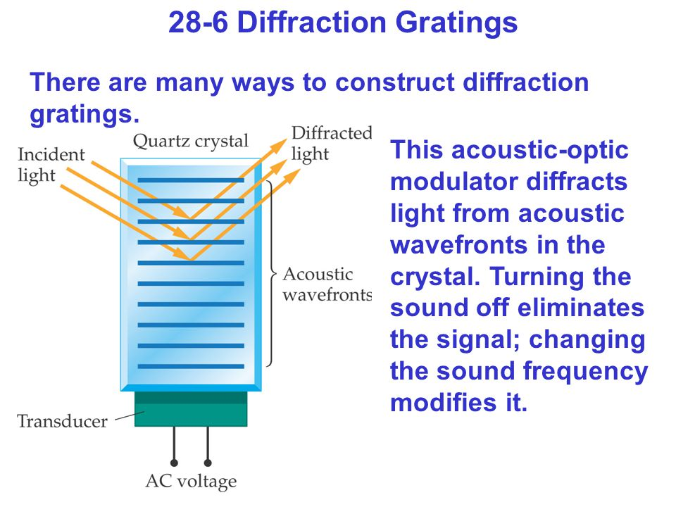 28-6 Diffraction Gratings There are many ways to construct diffraction gratings.