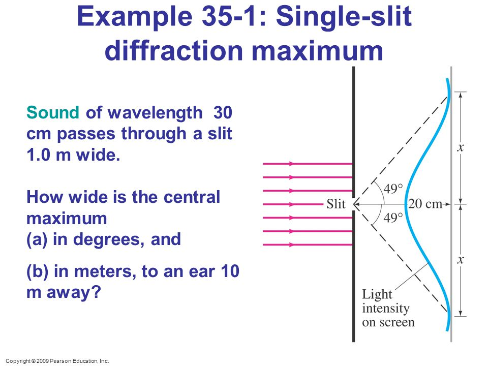 Copyright © 2009 Pearson Education, Inc. Example 35-1: Single-slit diffraction maximum Sound of wavelength 30 cm passes through a slit 1.0 m wide. How