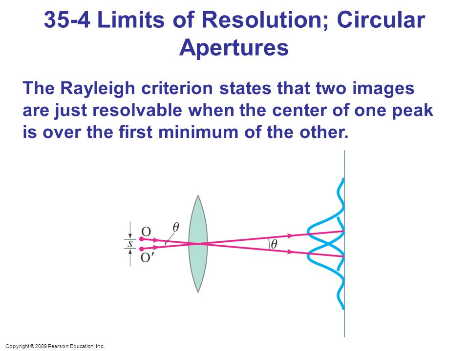 Copyright © 2009 Pearson Education, Inc. The Rayleigh criterion states that two images are just resolvable when the center of one peak is over the fir
