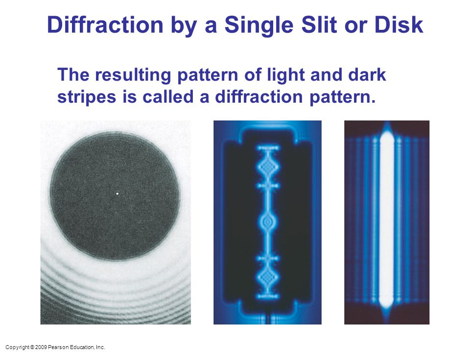 Copyright © 2009 Pearson Education, Inc. The resulting pattern of light and dark stripes is called a diffraction pattern. Diffraction by a Single Slit