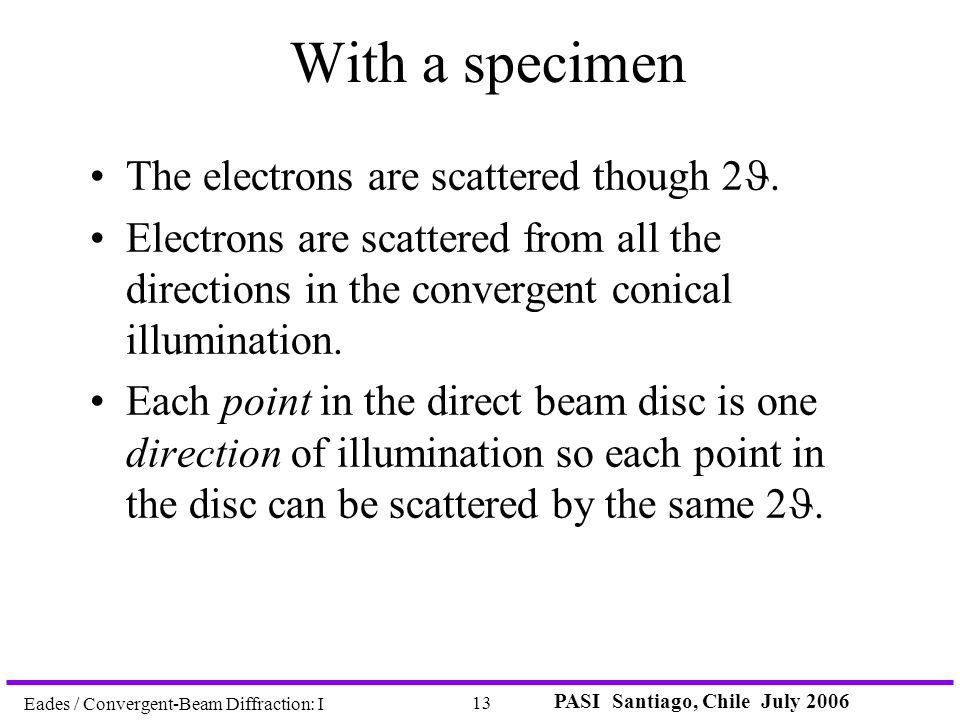 PASI Santiago, Chile July 2006 13 Eades / Convergent-Beam Diffraction: I With a specimen The electrons are scattered though 2. Electrons are scattered