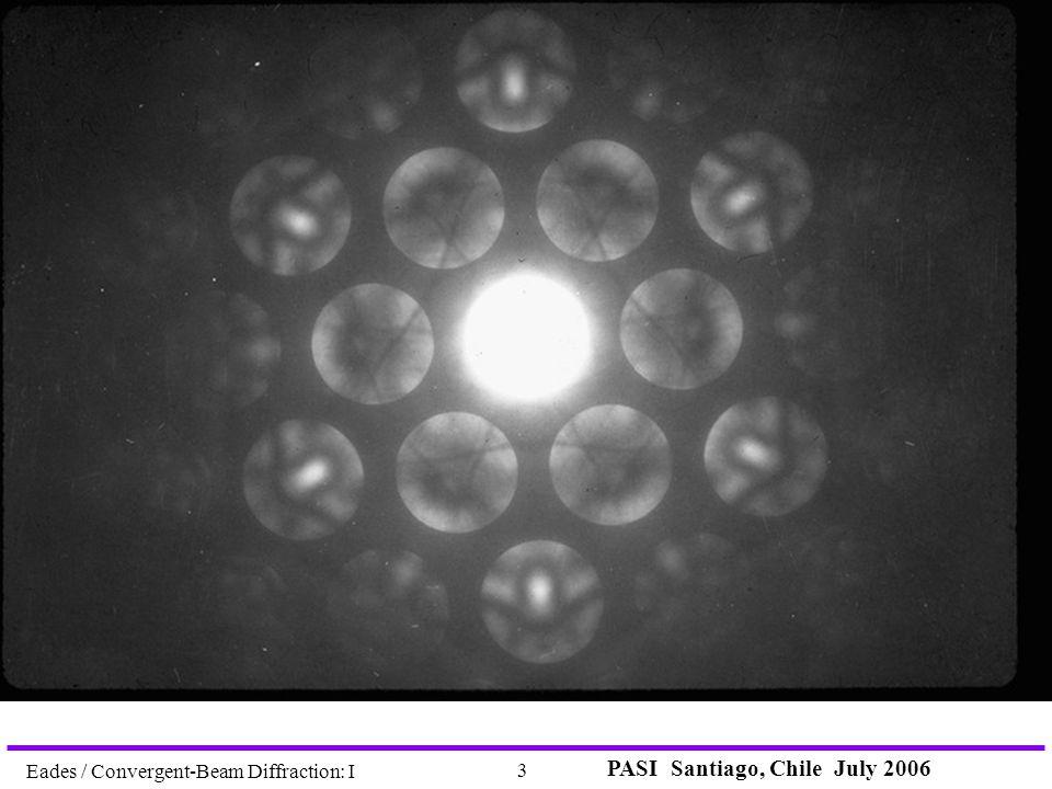 PASI Santiago, Chile July 2006 3 Eades / Convergent-Beam Diffraction: I