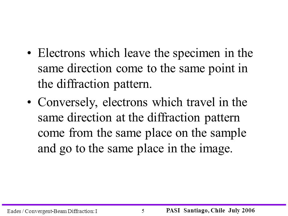 PASI Santiago, Chile July 2006 5 Eades / Convergent-Beam Diffraction: I Electrons which leave the specimen in the same direction come to the same poin