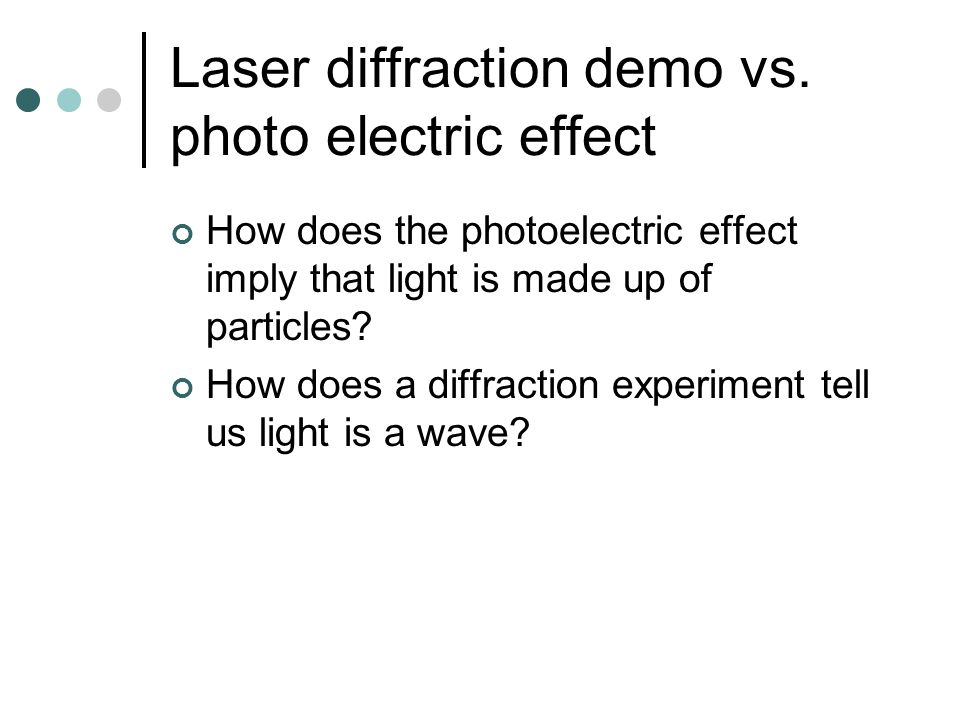 Laser diffraction demo vs.