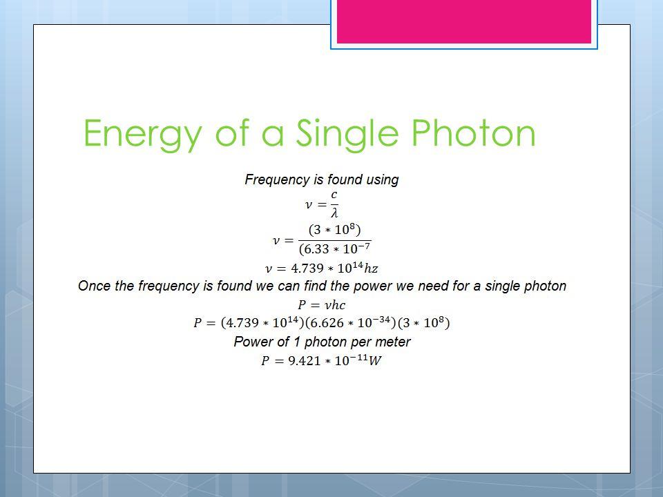 Energy of a Single Photon