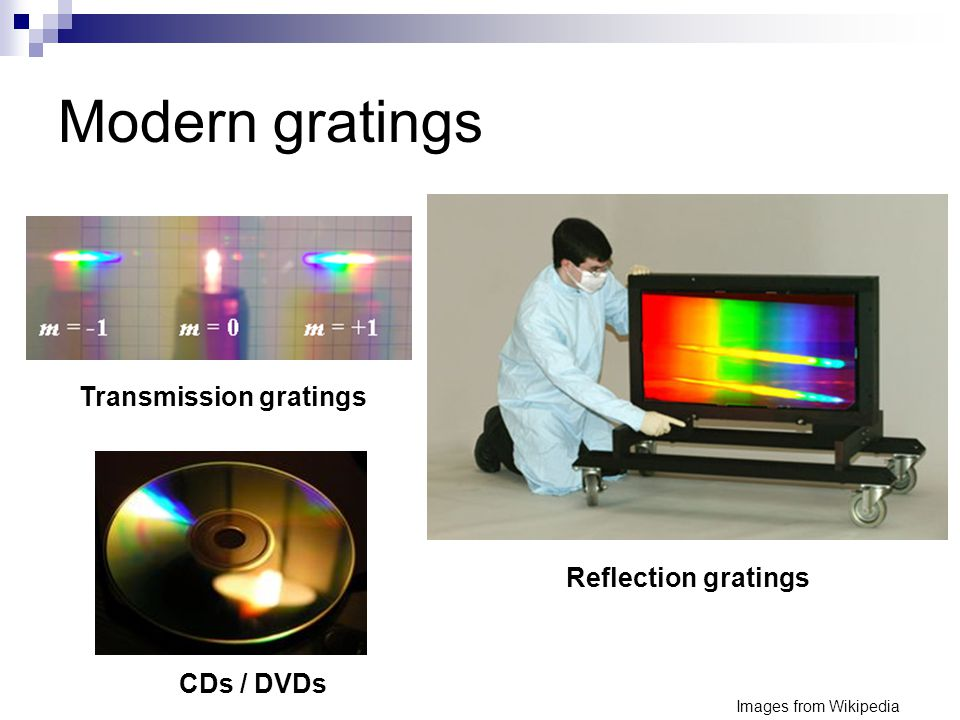 Modern gratings Reflection gratings Transmission gratings CDs / DVDs Images from Wikipedia
