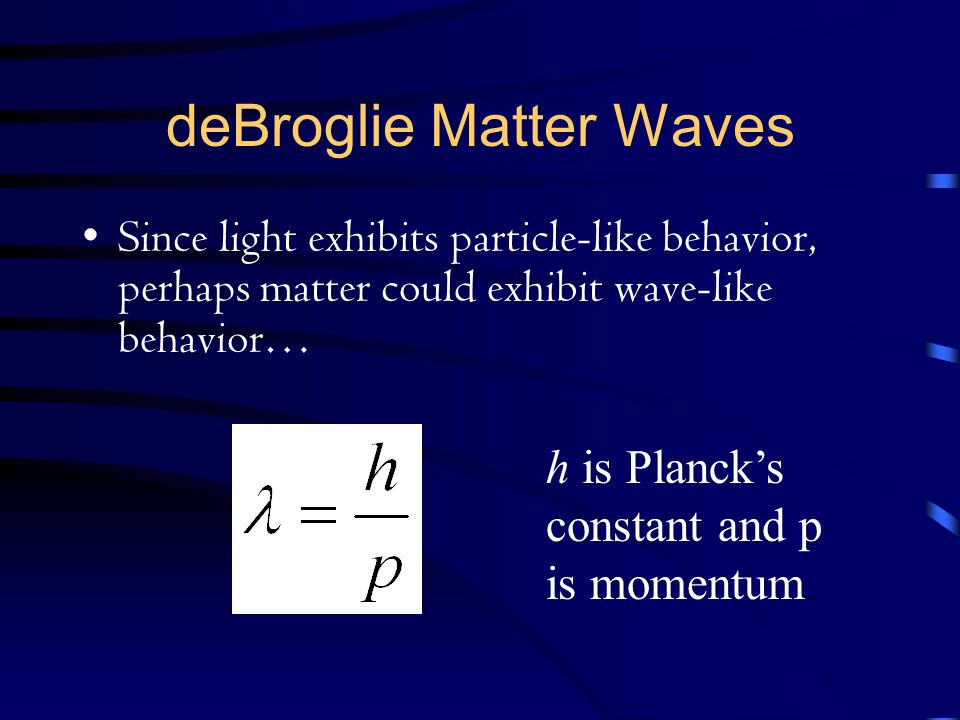 deBroglie Matter Waves Since light exhibits particle-like behavior, perhaps matter could exhibit wave-like behavior… h is Planck's constant and p is m