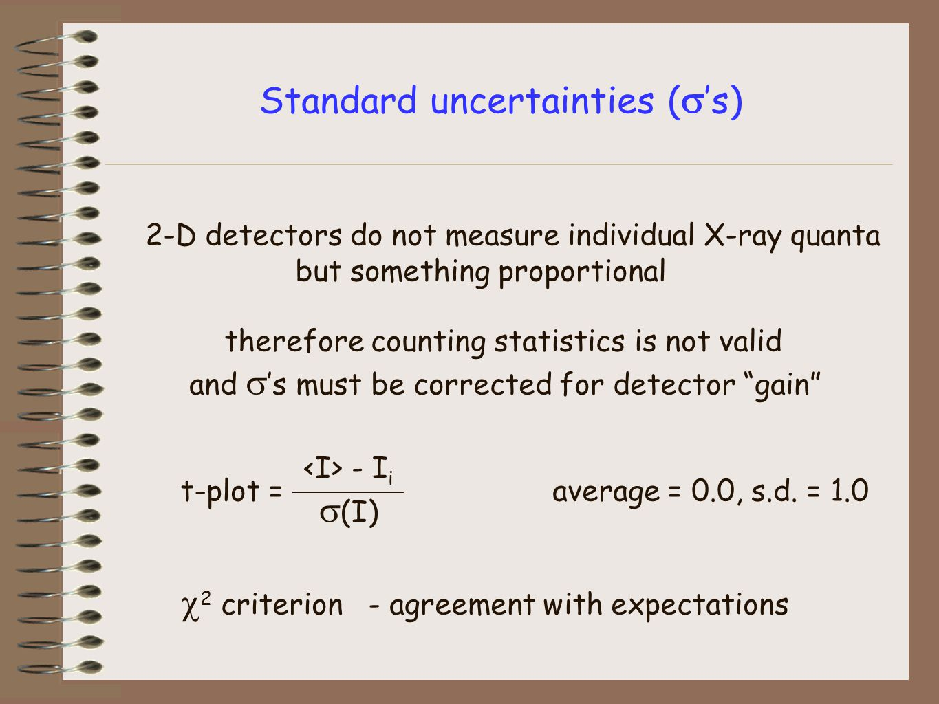 Standard uncertainties (  's) 2-D detectors do not measure individual X-ray quanta but something proportional therefore counting statistics is not valid and  's must be corrected for detector gain t-plot = _________ average = 0.0, s.d.
