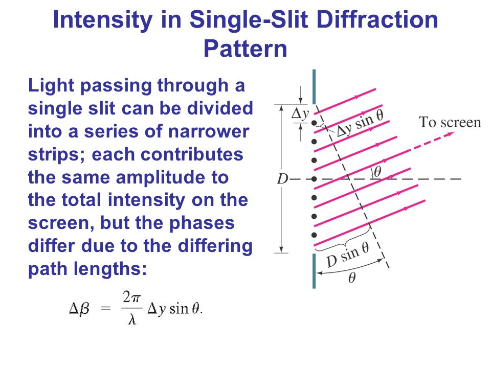 Intensity in Single-Slit Diffraction Pattern Light passing through a single slit can be divided into a series of narrower strips; each contributes the