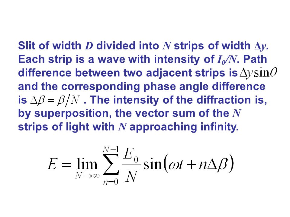 Slit of width D divided into N strips of width Δy. Each strip is a wave with intensity of I 0 /N. Path difference between two adjacent strips is and t