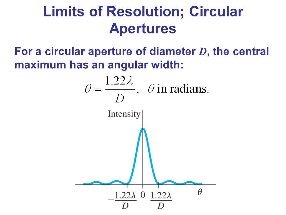 For a circular aperture of diameter D, the central maximum has an angular width: Limits of Resolution; Circular Apertures