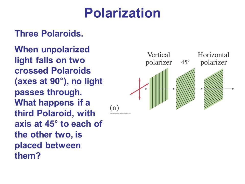 Polarization Three Polaroids. When unpolarized light falls on two crossed Polaroids (axes at 90°), no light passes through. What happens if a third Po