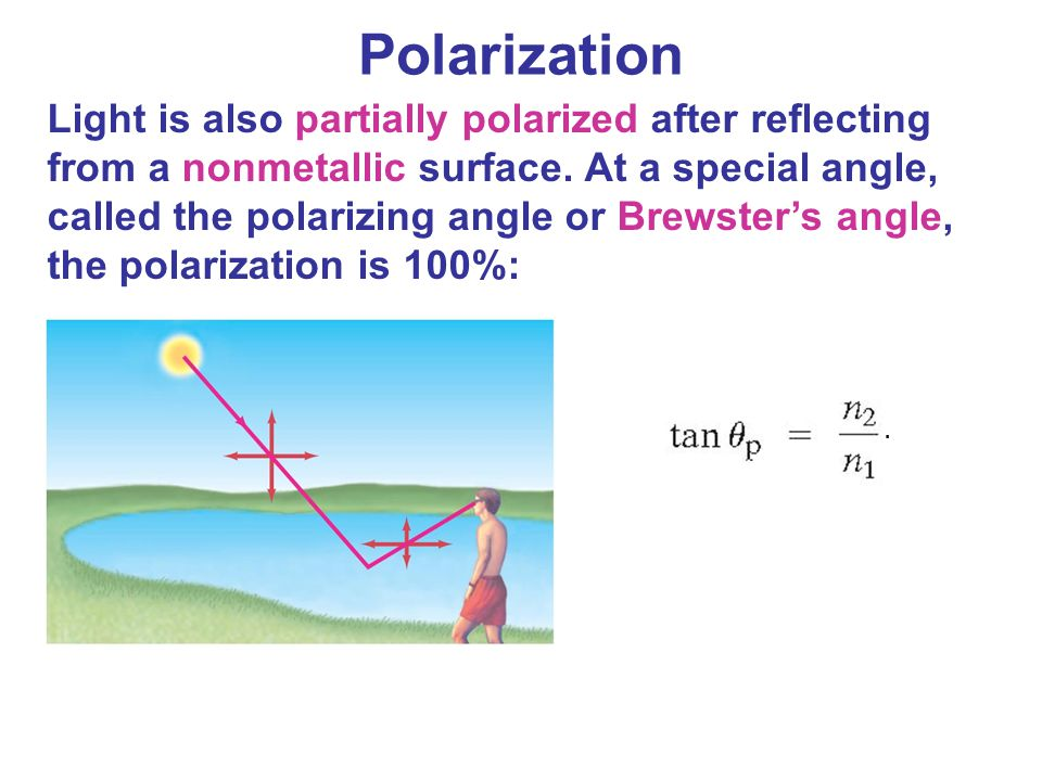 Light is also partially polarized after reflecting from a nonmetallic surface. At a special angle, called the polarizing angle or Brewster's angle, th
