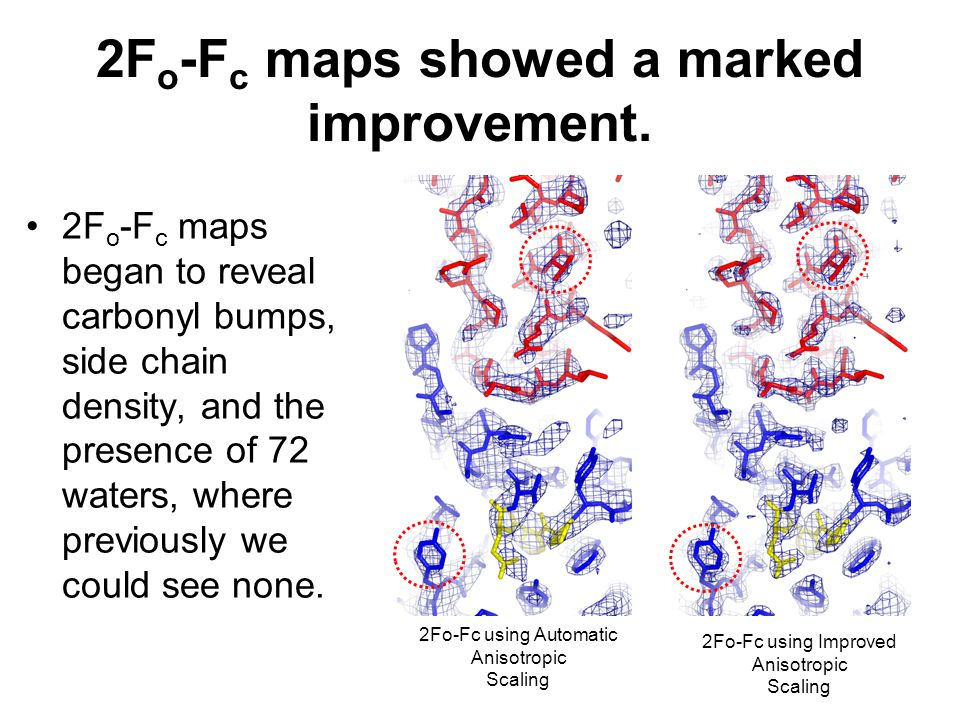 2F o -F c maps showed a marked improvement. 2F o -F c maps began to reveal carbonyl bumps, side chain density, and the presence of 72 waters, where pr