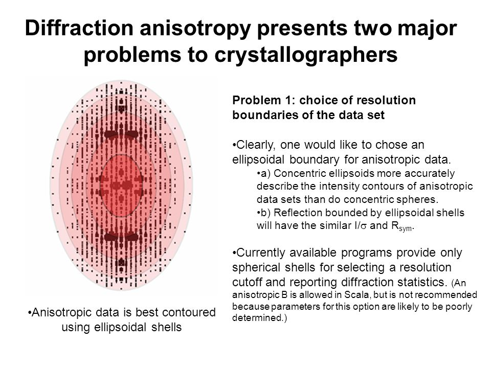 Diffraction anisotropy presents two major problems to crystallographers Problem 1: choice of resolution boundaries of the data set Clearly, one would like to chose an ellipsoidal boundary for anisotropic data.