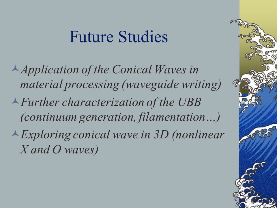 Future Studies Application of the Conical Waves in material processing (waveguide writing) Further characterization of the UBB (continuum generation, filamentation…) Exploring conical wave in 3D (nonlinear X and O waves)