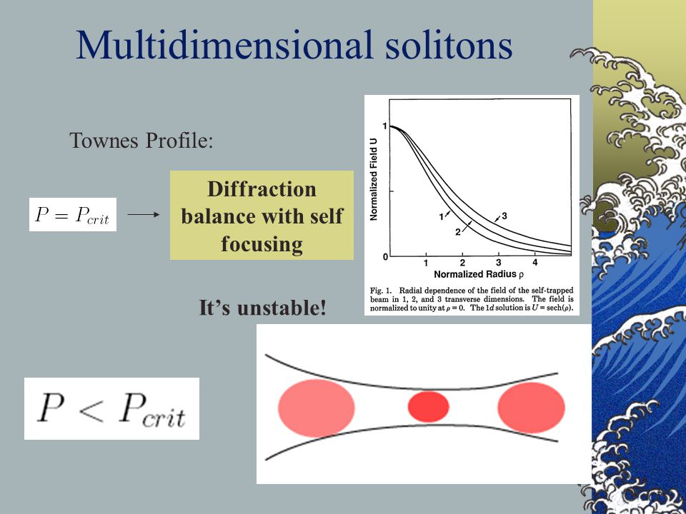 Multidimensional solitons Townes Profile: It's unstable! Diffraction balance with self focusing