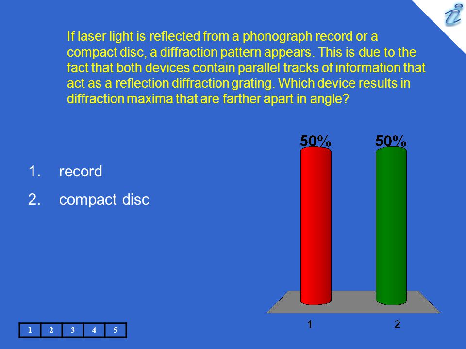 If laser light is reflected from a phonograph record or a compact disc, a diffraction pattern appears. This is due to the fact that both devices conta