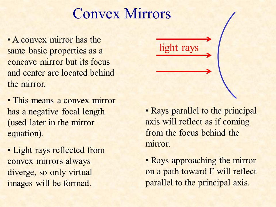 Concave Mirrors: Object at C or F What happens when an object is placed at C? What happens when an object is placed at F? The image will be formed at