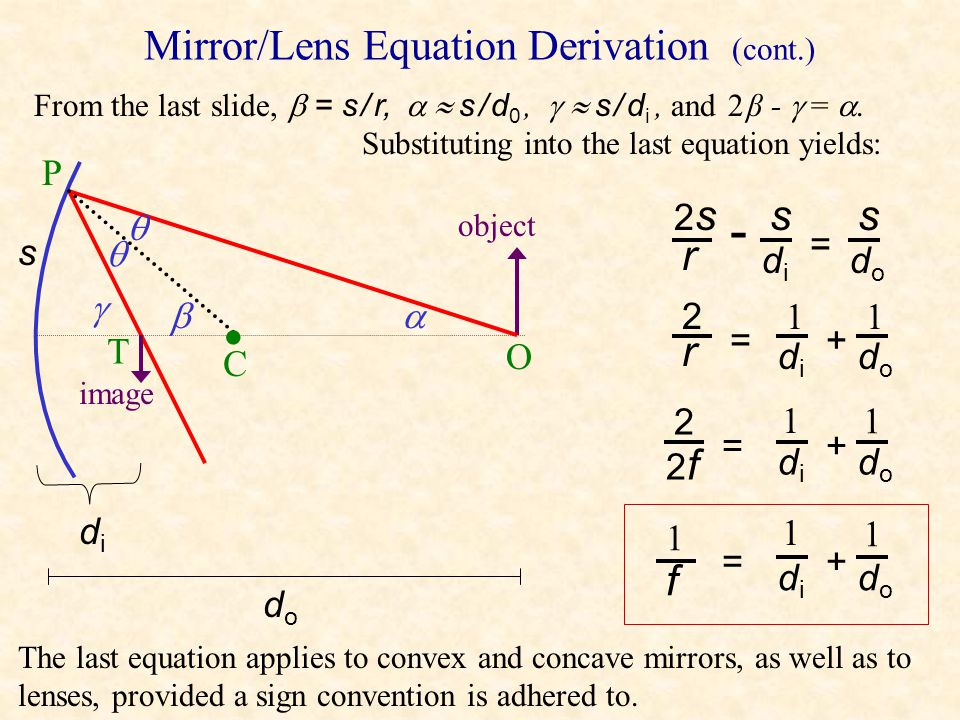 Mirror/Lens Equation Derivation From  PCO,  =  + , so 2  = 2  + 2 . From  PCO,  = 2  + , so -  = -2  - . Adding equations yields 2  - 