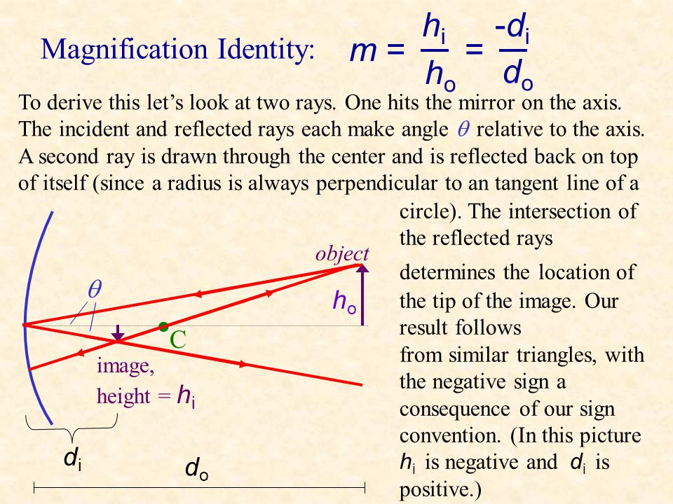 Magnification m = magnification h i = image height (negative means inverted) h o = object height m = hihi hoho By definition, Magnification is simply
