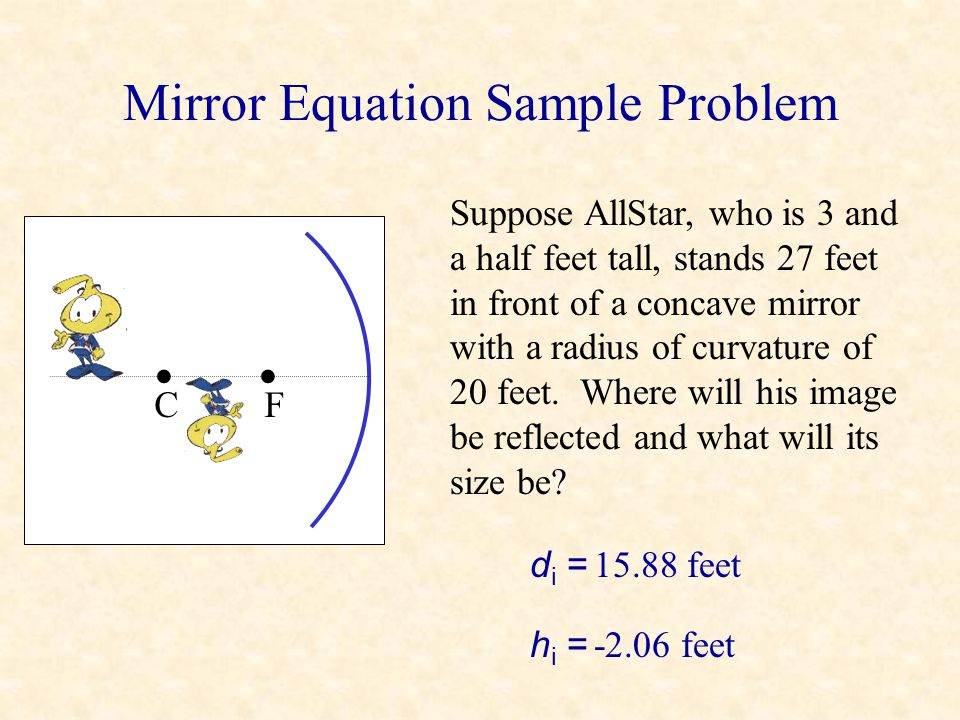 Magnification Identity: m = -di-di dodo hihi hoho = C object image, height = h i didi dodo To derive this let's look at two rays. One hits the mirror