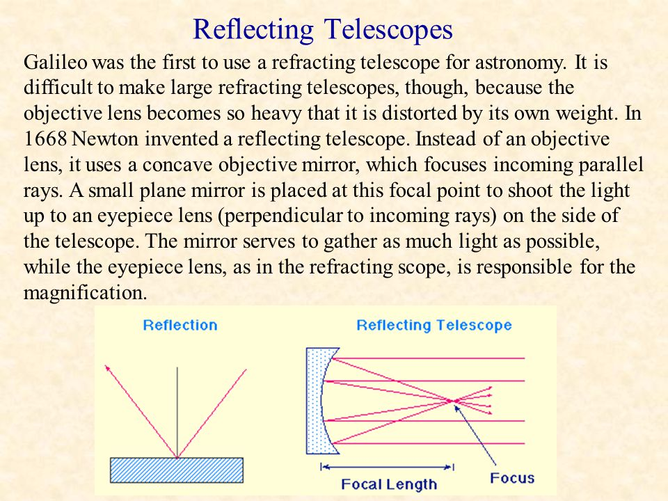 Refracting telescopes are comprised of two convex lenses. The objective lens collects light from a distant source, converging it to a focus and formin