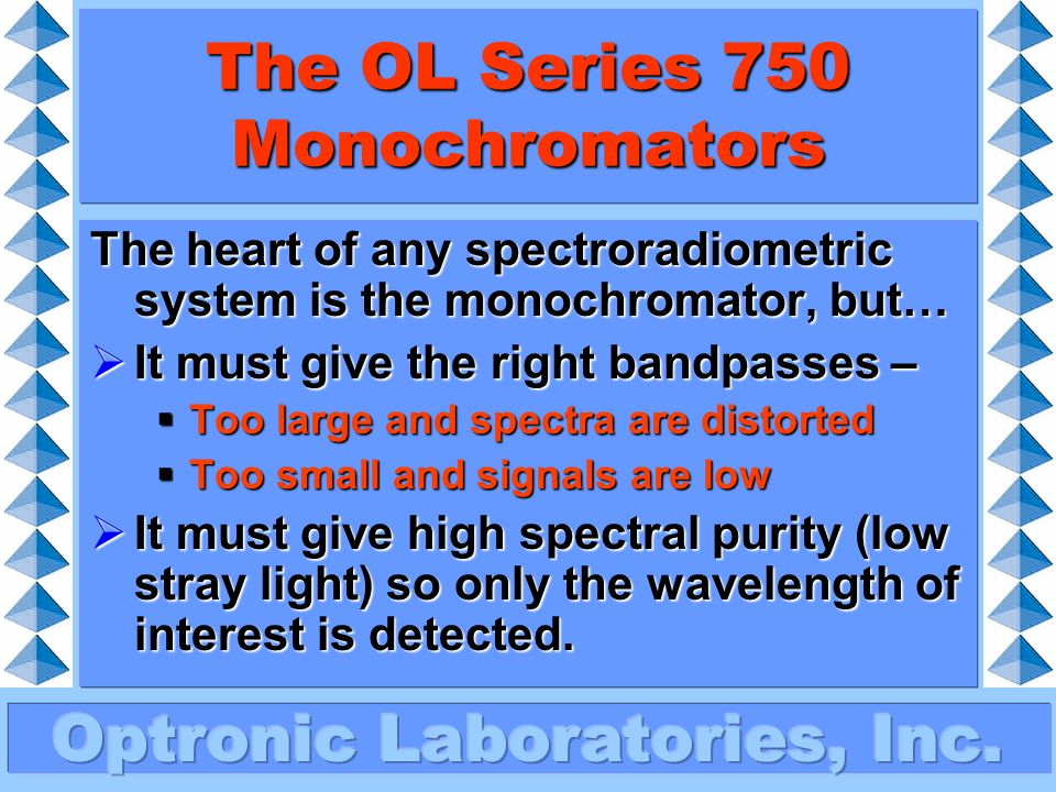 The OL Series 750 Monochromators This second grating acts like the first, but the spectral purity is increased by many decades.