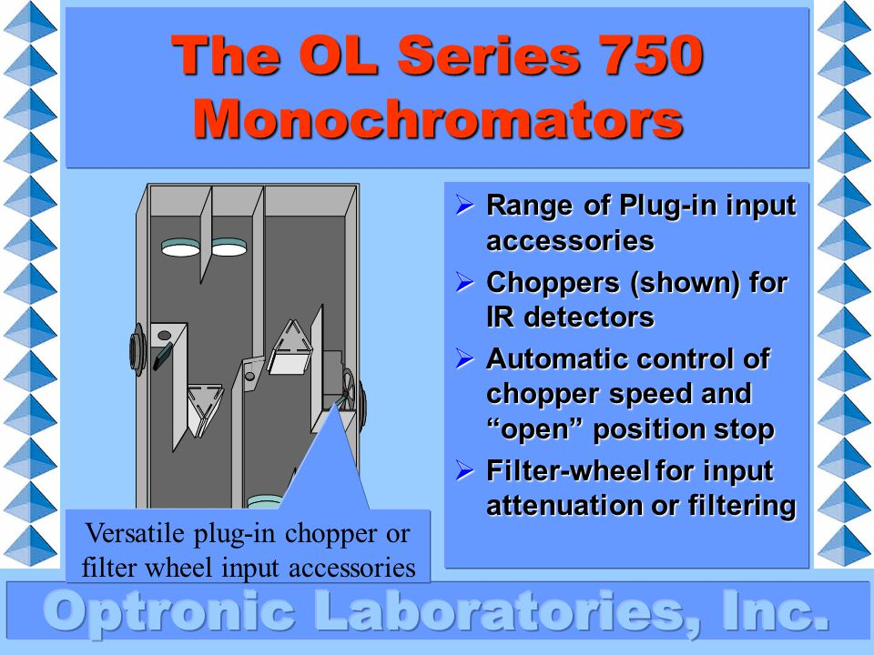 The OL Series 750 Monochromators  Fully automated 11 position blocking- filter wheel  Includes SHUT position for dark current readings  Optimised filters for widest wavelength range Blocking-filter wheel changes filters automatically