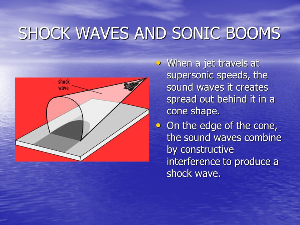 SHOCK WAVES AND SONIC BOOMS When a jet travels at supersonic speeds, the sound waves it creates spread out behind it in a cone shape. When a jet trave