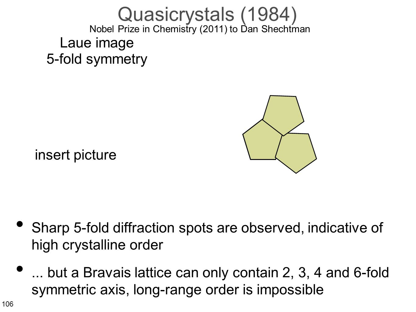 106 Quasicrystals (1984) Sharp 5-fold diffraction spots are observed, indicative of high crystalline order...