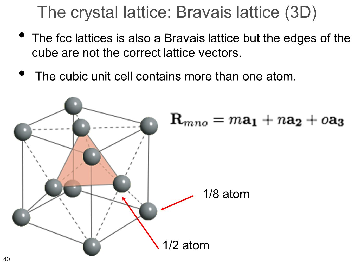 40 The crystal lattice: Bravais lattice (3D) The fcc lattices is also a Bravais lattice but the edges of the cube are not the correct lattice vectors.