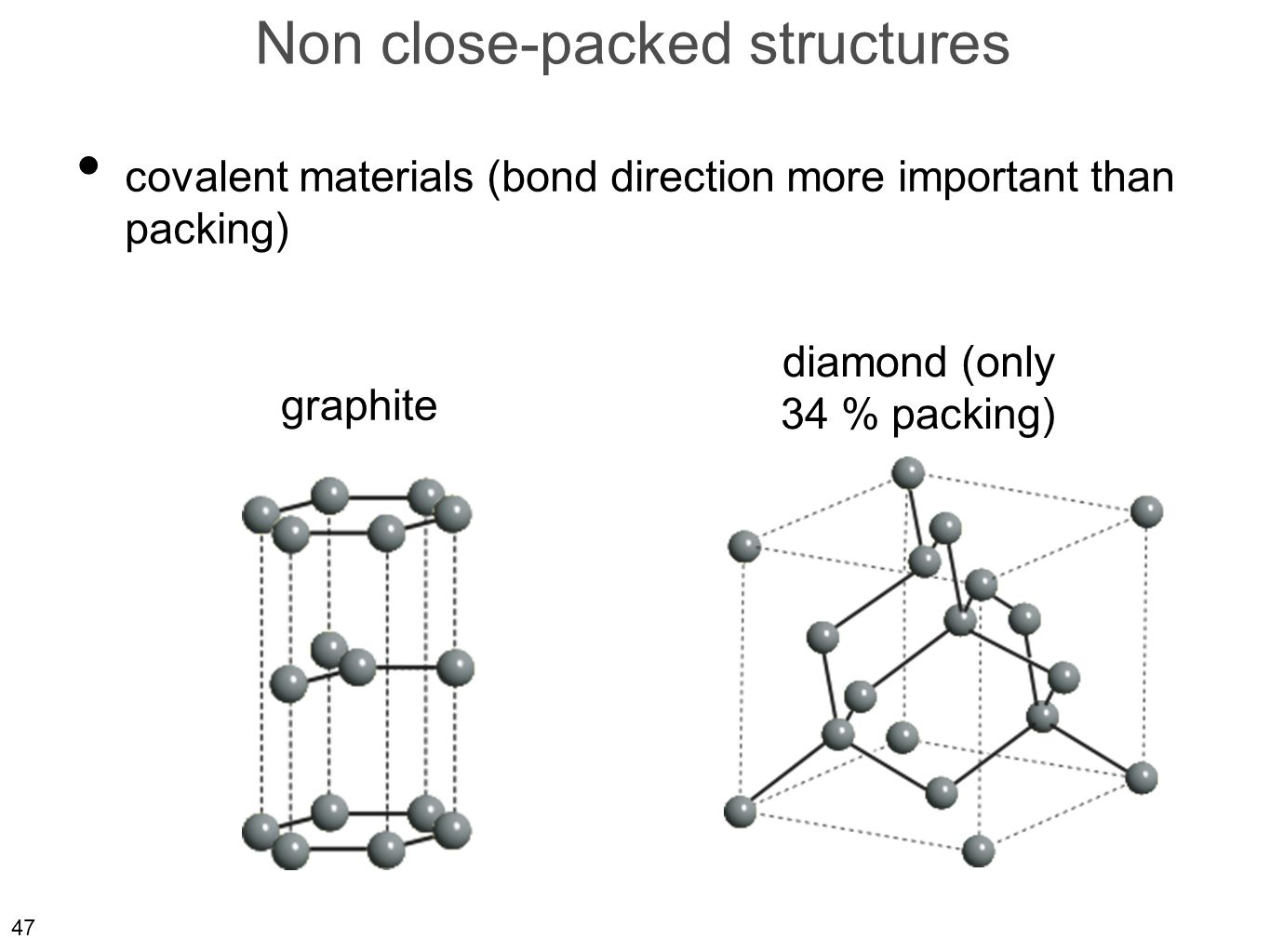47 Non close-packed structures covalent materials (bond direction more important than packing) diamond (only 34 % packing) graphite