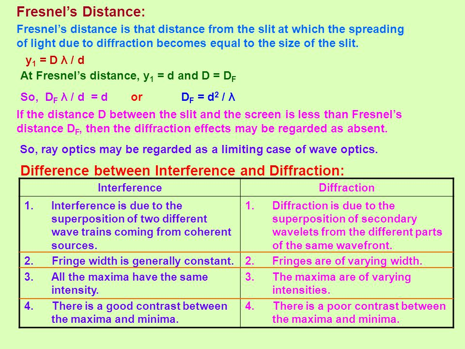 Fresnel's Distance: Fresnel's distance is that distance from the slit at which the spreading of light due to diffraction becomes equal to the size of