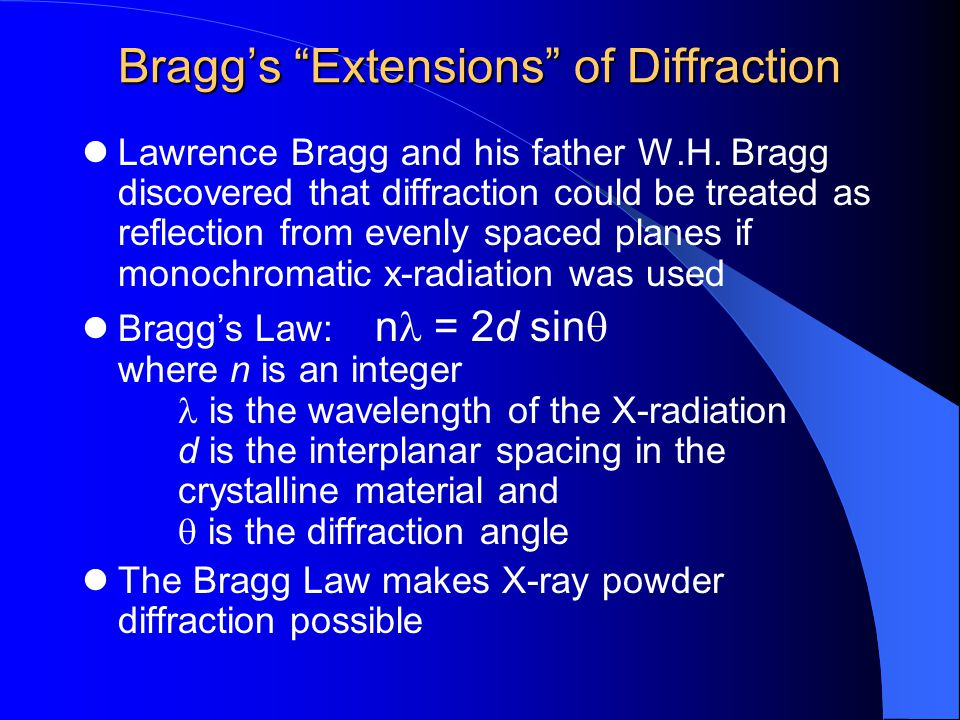 Bragg's Extensions of Diffraction Lawrence Bragg and his father W.H.