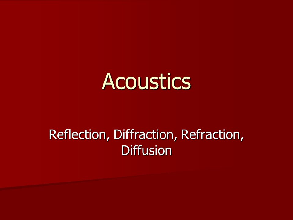 Acoustics Reflection, Diffraction, Refraction, Diffusion